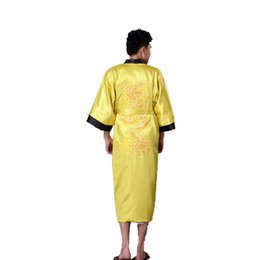 Gold Black Chinese Men s Reversible Satin Robe Embroidery Dragon Kimono  Bath Gown Two Side Sleepwear S M L XL XXL XXXL 011012 deb4bd14f