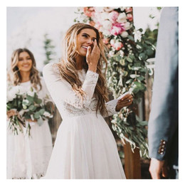 $enCountryForm.capitalKeyWord UK - Dress 2020 Boho Long Sleeve Wedding Dress 2019 Robe de mariee Vintage Lace Top New Bridal Dress Puffy Chiffon Wedding Dresses