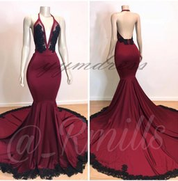 $enCountryForm.capitalKeyWord Australia - 2019 Burgundy Mermaid Prom Dresses Sleeveless Open Back Black Lace Appliques Beads Sweep Train See Through Evening Party Gowns