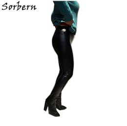 pants block UK - Black Stretched Pants Thigh high Boots Women Pointed Sexy Block Heel Elastic Sock Waist Boot Cuts High Heel Shoes Woman