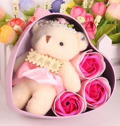 $enCountryForm.capitalKeyWord Australia - Soap Flower Bear Doll Heart Box For Romantic Valentine Day Gift Home Decoration Arts And Crafts Multi Colour