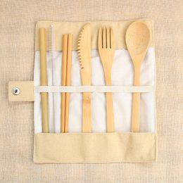 Fork kniFe chopsticks online shopping - 7pcs set Bamboo Portable Cutlery Set Outdoor Travel Flatware Set Knife Chopsticks Fork Spoon Dinnerware with Canvas Bag HHAA615