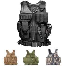 spring shooting Canada - Paintball Shooting Vest with Holster Mag Pouches Army Tactical Combat Vest Breathable Outdoor Hunting Waistcoat Vests