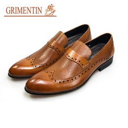 Business Man Shoe Australia - 2019GRIMENTIN fashion oxfords men dress shoes slip on orange genuine leather formal business male shoes