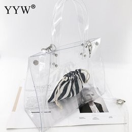 Discount hands bags summer - 2019 Large Capacity Transparent Hand Bags PVC Top Handle Women Handbag Shopping Tote Bag Two Piece Fashion Summer Totes