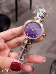 China Outdoor Ladies Watch 33MM Mother Of Pearl Purple Dial Diamond Hour Marker Quartz Gold Case Womens Watches Two Tone Stainless Steel Bracelet cheap marker cases suppliers