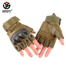 Fiber Force Australia - Tactical Fingerless Gloves Army Bicycle Special Forces Fitness PU Leather Hard Knuckle Half Finger Gloves Men