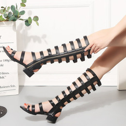 tie up back boots UK - High cylinder Flat bottom Sandals fish mouth cool boots straps hollow Roman sandals high tube flat bottom boots