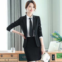Professional Female Skirt Suits Australia - Ladies Casual Suit Skirt Trousers Shirt Three Piece Professional Female Interview Suit Overalls Uniform Long Sleeved Slim