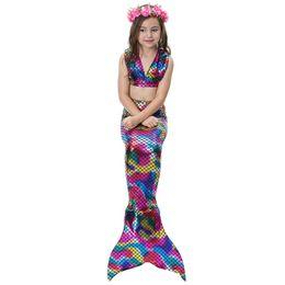 745165b0ed61 Teenage Costumes UK - 3PCS Girls Mermaid Tails Swimsuit with Monofin Kids  Cosplay Costumes Swimming Mermaid
