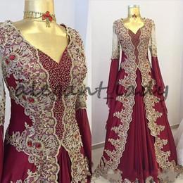 Gold arabic kaftan online shopping - Burgundy Arabic Beaded Prom Dresses With Long Sleeves V Neck A Line Gowns Vestidos Festa Kaftan Appliqued Formal Evening Dress