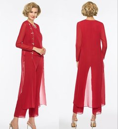 weddings dress pants 2019 - 2019 Elegant Red Long Mother Of The Bride Dresses Pants Suit Sheath Long Sleeves Jewel Custom Wedding Party Mother Of Th