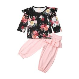 wholesale little girl tees shirts Australia - Newest Arrival 1-5T Baby Kid Girl Floral Clothes Set Little Girls T Shirt Tops Tee Pants Tracksuit Outfit Clothing Sets