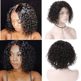 kinky straight bob 2019 - Pre Plucked Short Bob Wigs For Black Women 100% Brazilian Virgin Human Hair Lace Frontal Wigs Middle Part Kinky Curly La