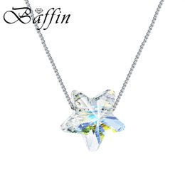 wholesale swarovski crystals beads UK - BAFFIN Simple Star Bead Necklaces Pendants Crystals From Swarovski Silver Color Chain Necklaces For Women Office Jewelry 2018