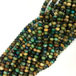 Brown gemstone Beads online shopping - Natural Genuine Brown Yellow Green Blue Chrysocolla Loose Gemstone Faceted Rondelle Beads DIY Necklace and Bracelets quot