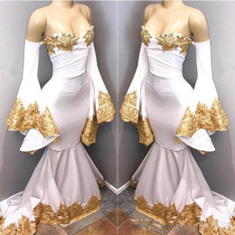 $enCountryForm.capitalKeyWord Australia - Vintage Mermaid Off-Shoulder Dresses Party Evening Saudi Arabic White Prom Dress with Gold Appliques Lace Poet Sleeves Womens Sexy Gown