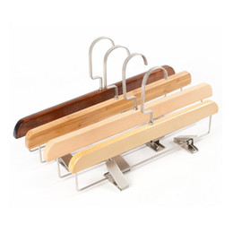 women clothing store Australia - Retro Solid Wood Pants Rack Trousers Hanger Men and Women Pants Clips for Clothing Store WB933