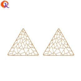 triangle connectors UK - wholesale 100Pcs 39*34MM Jewelry Making Earring Connectors Nets Triangle Shape DIY Accessories Hand Made Earring Findings
