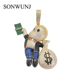$enCountryForm.capitalKeyWord Australia - Large Size High Quality Brass Cz Stones Cartoon Men Money Bag Pendant Hip Hop Necklace Jewelry Bling Bling Iced Out Cn044 J190529