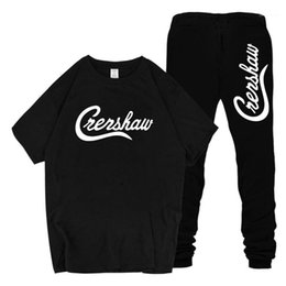 ripped t shirt mens NZ - T shirts Pants Suits 2pcs Clothing Sets Teenager Sports Suits Crenshaw Mens Tracksuits nipsey hussle RIP