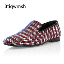 Party Shoes For Men Australia - 2019 Handmade Shoes Men Round Toe Mixed Color Rhinestone Rivet Star Flats Loafer Shoes For Man Fashion Party