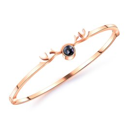 $enCountryForm.capitalKeyWord Australia - Sleek minimalist stainless steel rose gold antler bracelet High quality ladies glamour party jewelry Holiday gift 3-GH949