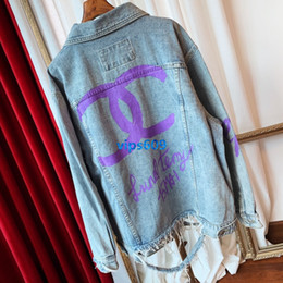 Girl s printed jeans online shopping - Women girls Fashion Jeans Jacket Long sleeves lapel neck coat Back letter printing Worn out high end Fashion women s denim tops coat jacke