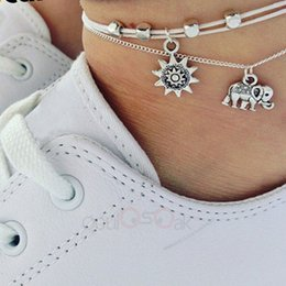 $enCountryForm.capitalKeyWord Australia - Vintage Multiple Layers Anklets For Women Elephant Sun Pendant Charms Rope Chain Beach Summer Foot Ankle Bracelet Jewelry