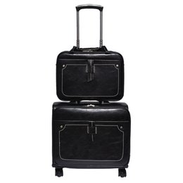 black spinner luggage Australia - Unique New 18 Inch PU Leather Spinner Luggage and Handbag Set Business Leather Luggage Sets Black and Coffee Color