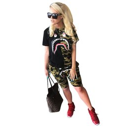 camouflage tracksuit wholesale UK - Shark Print Women Designer Luxury Tracksuits Camouflage T shirt Shorts 2 Piece Streetwear Brand Outfit Patchwork Tops Tee Sweatsuit C61404