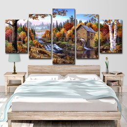 $enCountryForm.capitalKeyWord Australia - Modern Printed Paintings Posters HD 5 Panel Forest Animal Deer Landscape Home Decor Modular Wall Art Pictures Canvas