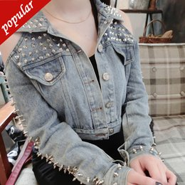$enCountryForm.capitalKeyWord NZ - European Fashion Women Handmade Washed Rivets Short Denim Jackets Sexy Off The Shoulder Punk Rock Jeans Jacket Coat