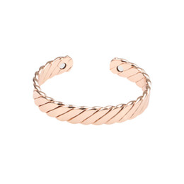 $enCountryForm.capitalKeyWord Australia - New Two Types Rose Gold Copper Simple Classic Luxury Man Women's Wavy Bangle Plated Gold Handmade Open Bracelets Jewelry for Gift Party
