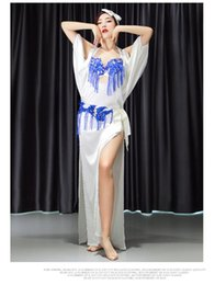 one scarf Australia - Women Belly Dance Robe Baladi Group Performance Suit Oriental Dance Costume Long One Piece Dress Robe+hip scarf+bra+head scarf