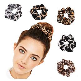 Polka Dot Hair Australia - 24 pcs lot 10 cm Velvet Scrunchies Leopard Printed Hair Scrunchies Bulk Polka Dot Hair Rubber Band Girls Ponytail Holder Head wear 5 Colors