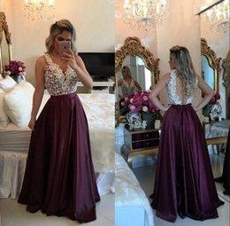2019 feito sob encomenda elegante Vintage Prom Vestidos Lace Top A linha V Neck Illusion Voltar Vestidos Pageant formal do partido Vestidos em Promoiio