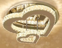 Heart sHaped room ligHt online shopping - Dia cm Love Double heart shaped Crystal Ceiling Lights Modern Simple LED Romantic Bedroom Lamps Wedding Room Warm Top grade Lighting