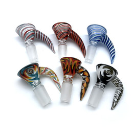 Bongs Bowl 18mm Australia - 14mm 18mm Male Wig Wag Glass Bowl With Handle 2 Styles Heady Glass Bowls Piece Smoking Accessories For Glass Water Bongs Dab Rigs