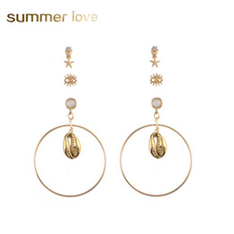 beach earrings UK - 3Pcs Set Shell Starfish Dangle Earring for Women Europe America Exaggerated Gold Plating Alloy Big Hoop Earring Summer Beach Jewelry