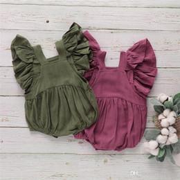$enCountryForm.capitalKeyWord NZ - New Designs Summer Toddler Baby Girls Rompers INS Cotton Ruffles Sleeveless Square Collar Blank Jumpsuit Kids Bodysuit Baby Romper 3-18M