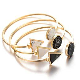 metal gold bracelets 2019 - Open Metal Bangle Bracelet Fashion Gold Color Black White Geometric Triangle Cuff Punk Bracelet Bangle Pulseras discount