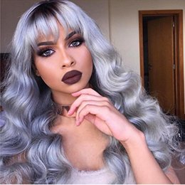 Full Wig Lace Front Bangs Australia - Brazilian human hair with bang Full Lace Human Hair Wig Remy Hair Wig 1bt grey lace front wig no shedding for black women