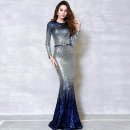 EvEning dinnEr wEar online shopping - 2019 It s YiiYa Fashion Long Sleeve Panelled Bling Dinner Party Dresses Vestidos Simple O neck Mermaid Evening Gowns Graduation Dresses