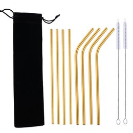 velvet brush Australia - 304 Stainless Steel Drinking Straws Reusable Metal Straw Black Velvet Pouch with Cleaning Brushes for Picnic Home Party Supplies 11 Pcs  Set