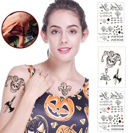 Discount face tattoos for halloween - 9 Styles Halloween Cosplay The Joker Temporary Tattoo Stickers Body Art Tattoos for Face Arm