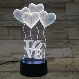 shape lamp acrylic NZ - Touch four heart shaped LOVE 3D light Colorful acrylic visual stereo table lamp Energy saving gradient desk night light
