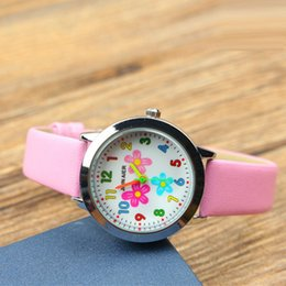 girl watch simple Australia - Wholesale girls beautiful flowers design leather watch fashion kids children students simple colorful numbers gift party watches