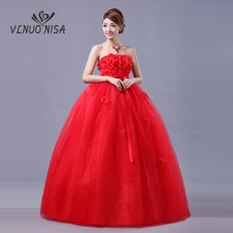 $enCountryForm.capitalKeyWord Australia - Elegant Comfortable Red Wedding Dress Strapless Lace Up 3D Flower Bow Ball Gown Plus size Pregnant Bride Cheap Maternity Gown