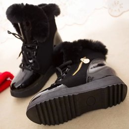cotton rounds Australia - Snow boots new color matching round head female plus velvet female cotton Martin boots casual wild non-slip female boots thick platform